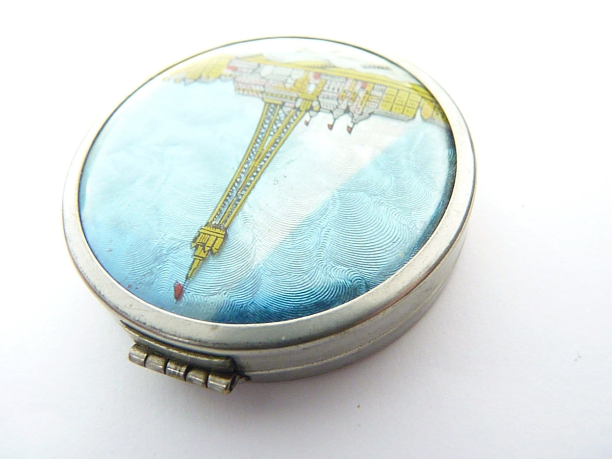 1930s tin foil compact mirror tin wedding gift for her