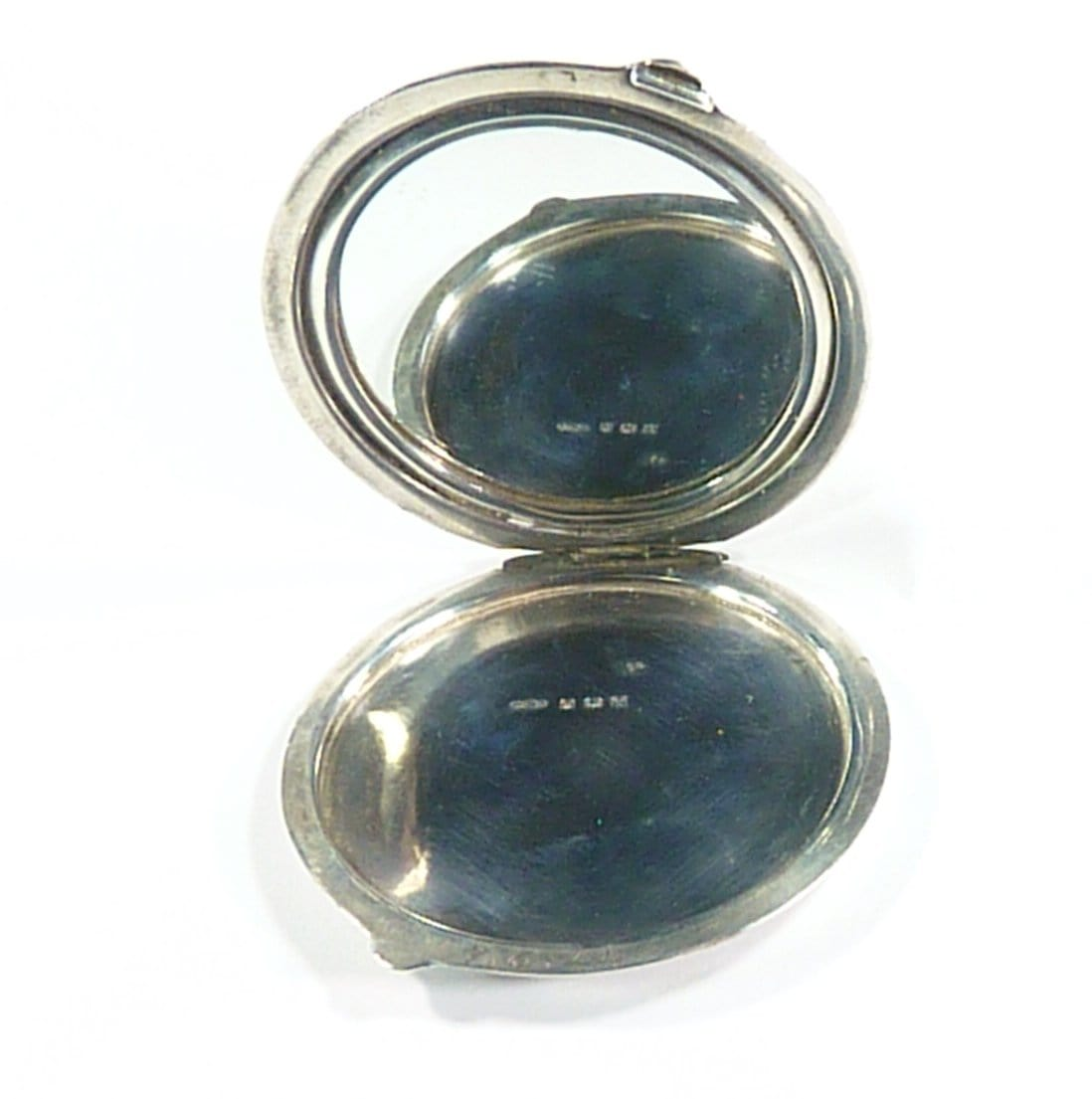 Solid Silver Compact Mirror Engraved Initials A C N 1943