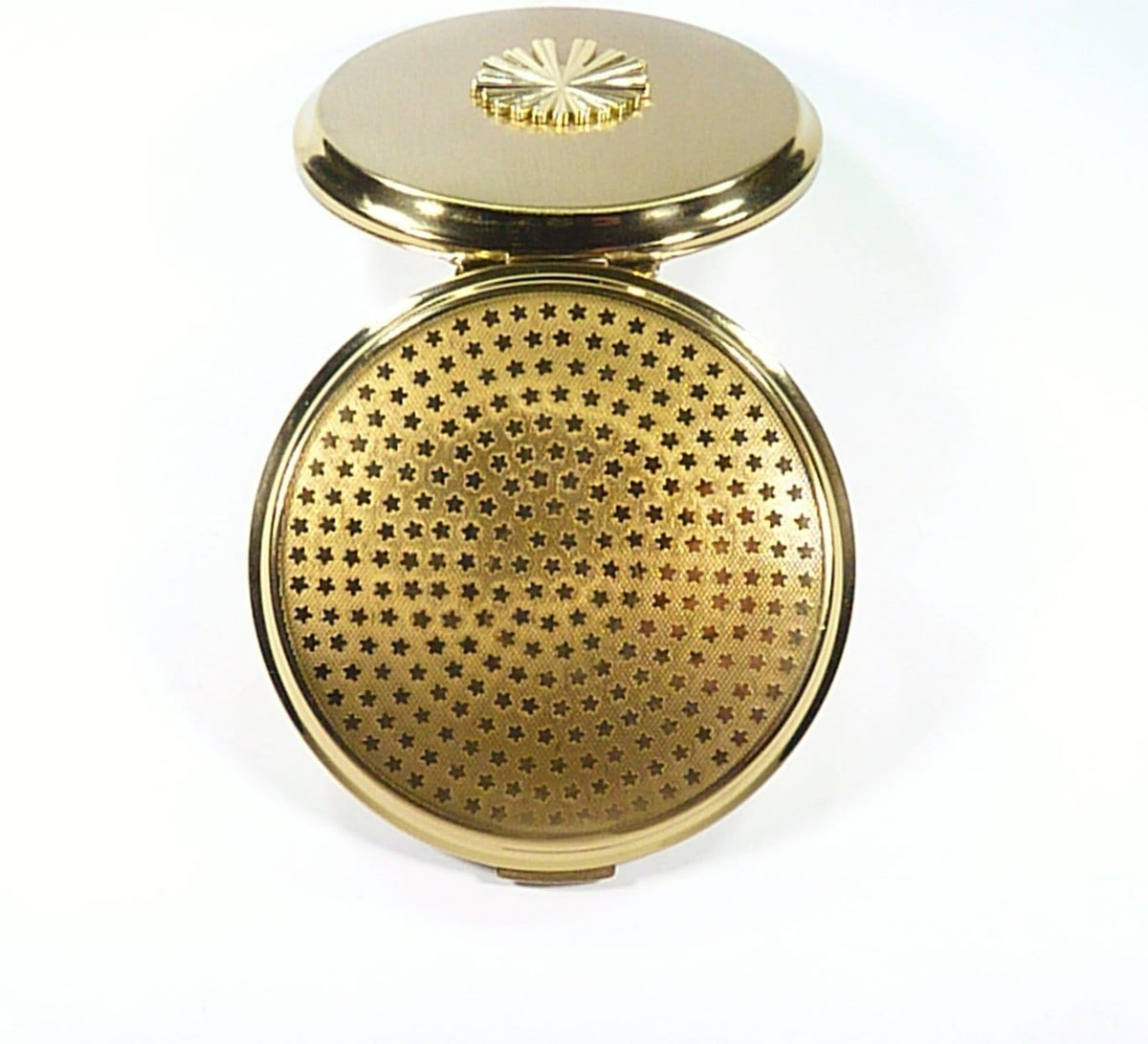 1950s Stratton Refillable Compact Case With And Mirror Gilt Motif