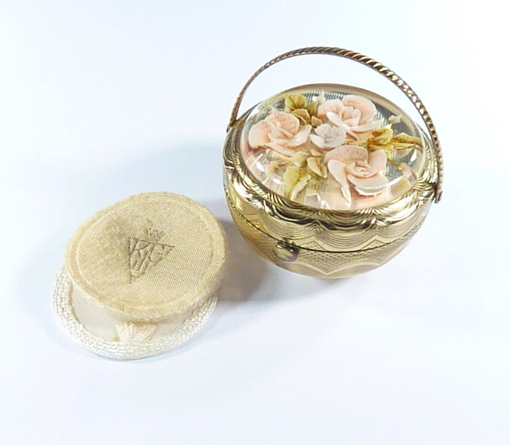 1950s Flower Basket Lucite Compact Mirror