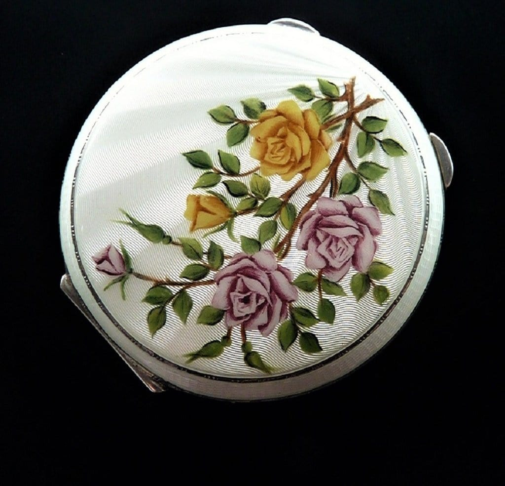 1959 Silver Enamel Compact Mirror Gold And Pink Roses