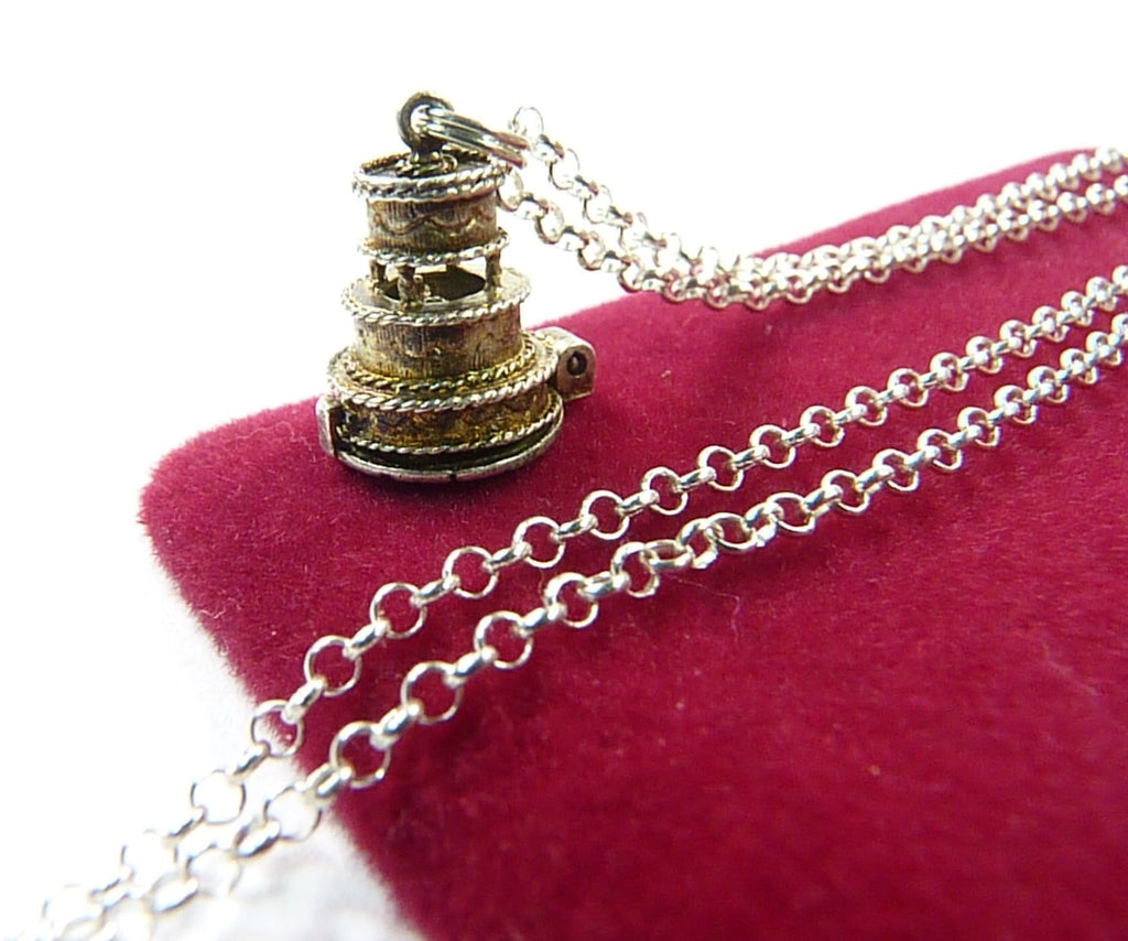 1960s Wedding Cake Pendant With Sterling Silver Chain