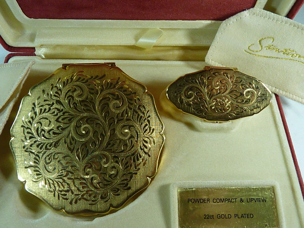 22ct Gold Plated Stratton Compact Set