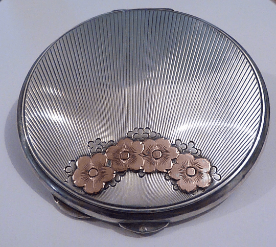 Antique golden wedding anniversary gifts 25th anniversary gifts for her solid silver and gold powder compact RARE - The Vintage Compact Shop