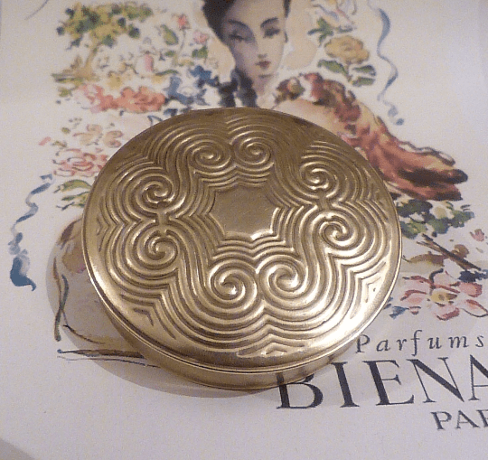 Rare Bienamie compact mirror authentic Art Deco powder compacts for sale - The Vintage Compact Shop