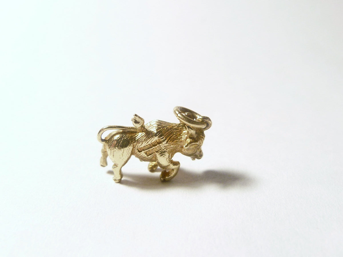 Hallmarked Gold Charms Charging Bull Charm Henry Griffith & Sons 1942