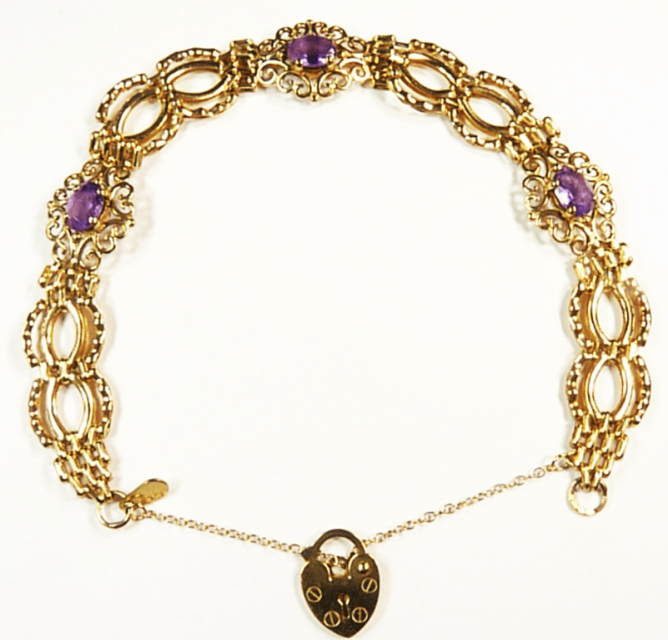 9ct gold and amethyst bracelet