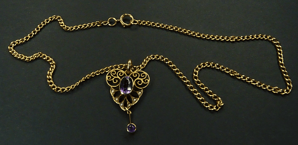 Amethyst And Gold Pendant Necklace