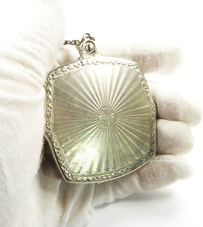 Antique Compact Mirror With Chain