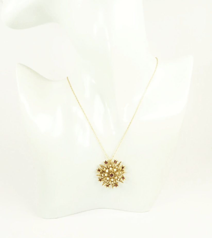 Antique Gold And Pearl Necklace