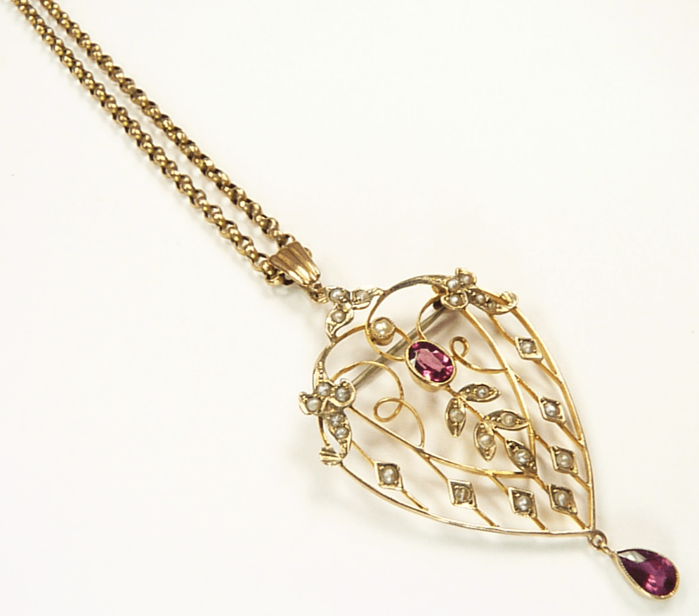 Antique Gold Seed Pearl And Tourmaline Pendant Necklace