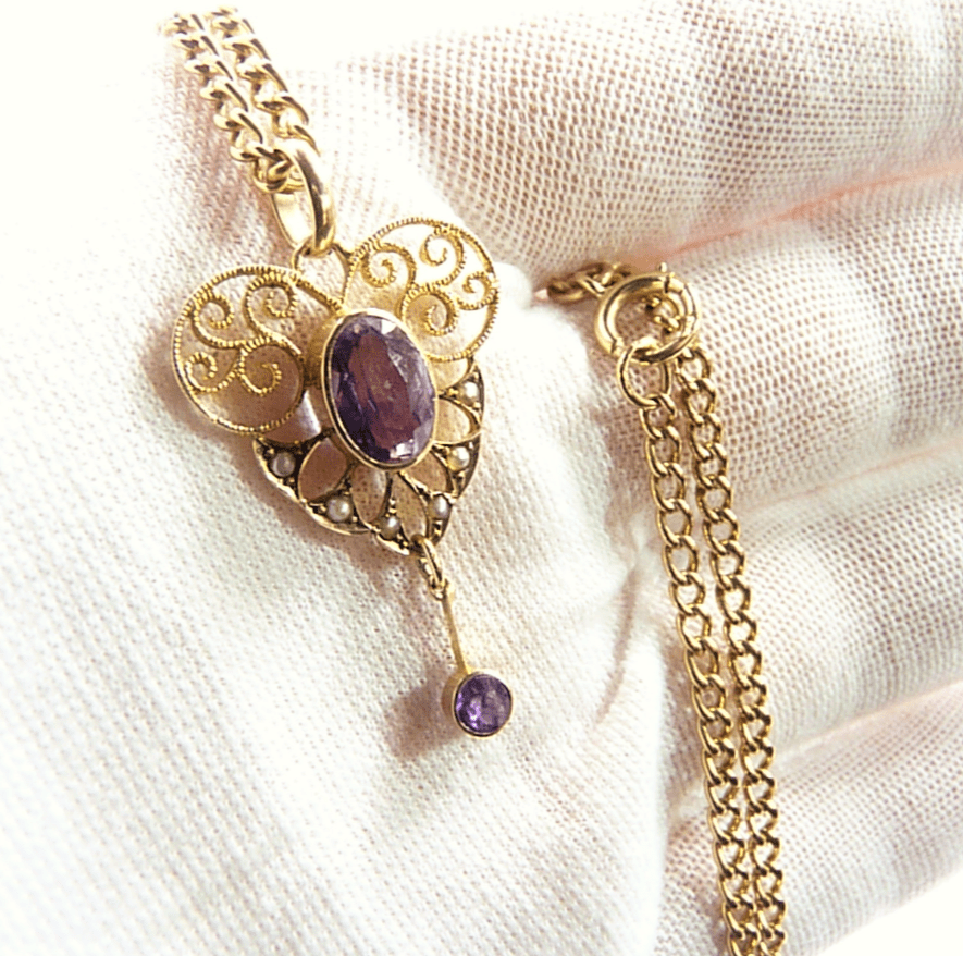 Antique Heart Shaped Open Work Gold Pendant.