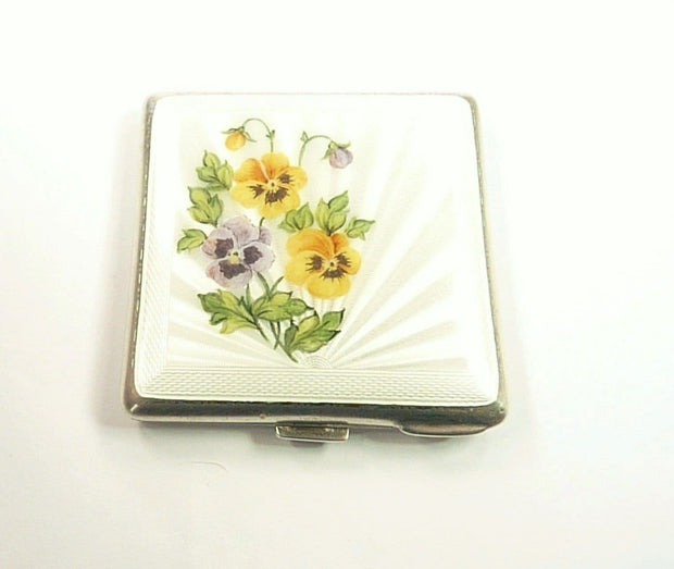 Antique Silver And Enamel Makeup Compact
