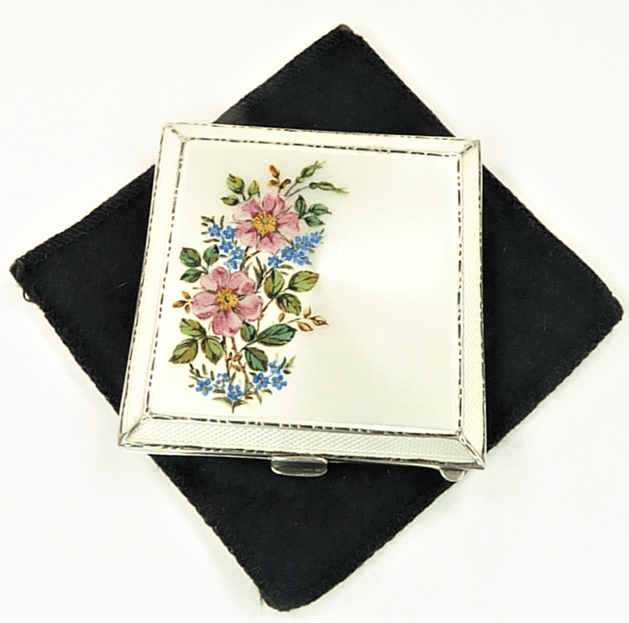Antique Silver And Enamel Powder Compact