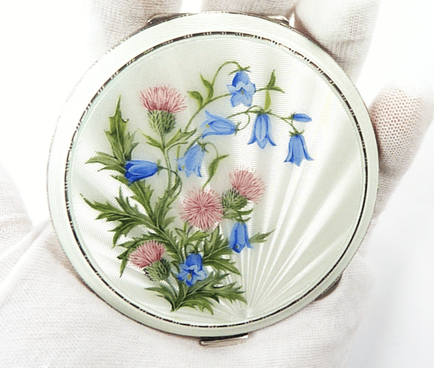 AntiqueSilverLoosePowder Compact Scottish Themed Thistle Hare Bells