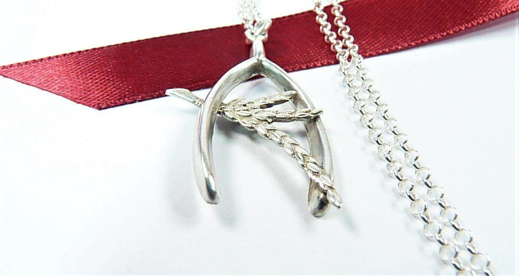 Antique Silver Lucky Wish Bone And Heather Pendant With Sterling Silver Necklace