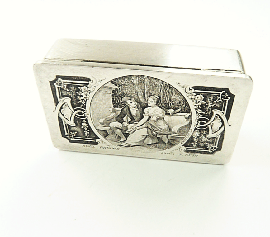 Antique Stamp Box With Engraved Romantic Scene