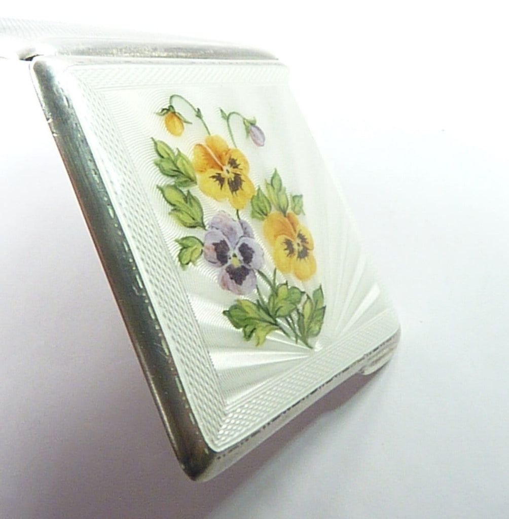 Antique Sterling Silver And Guilloche Enamel Powder Compact