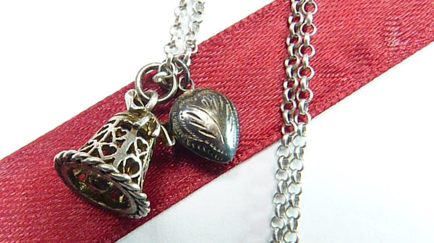 Antique Sterling Silver Wedding Bell Necklace