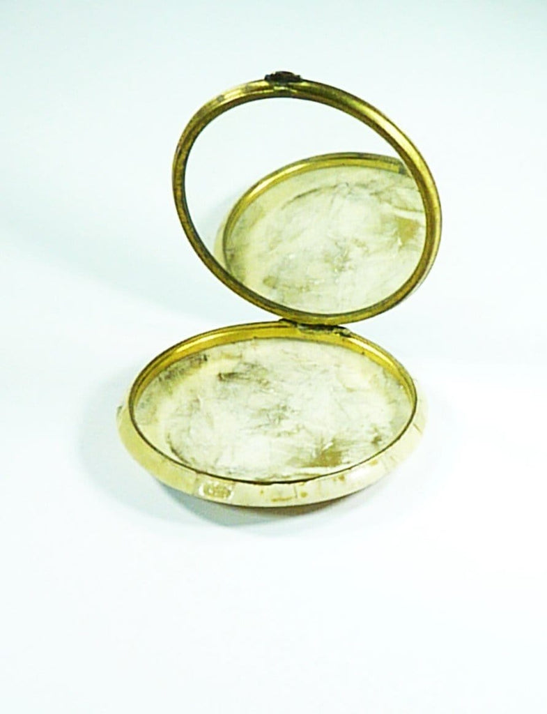 Antique Celluloid Compact Mirror Pastoral Scene