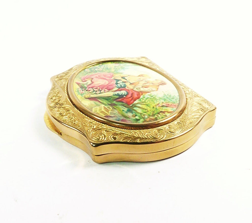 Antique Compact Mirror For Loose Face Powder