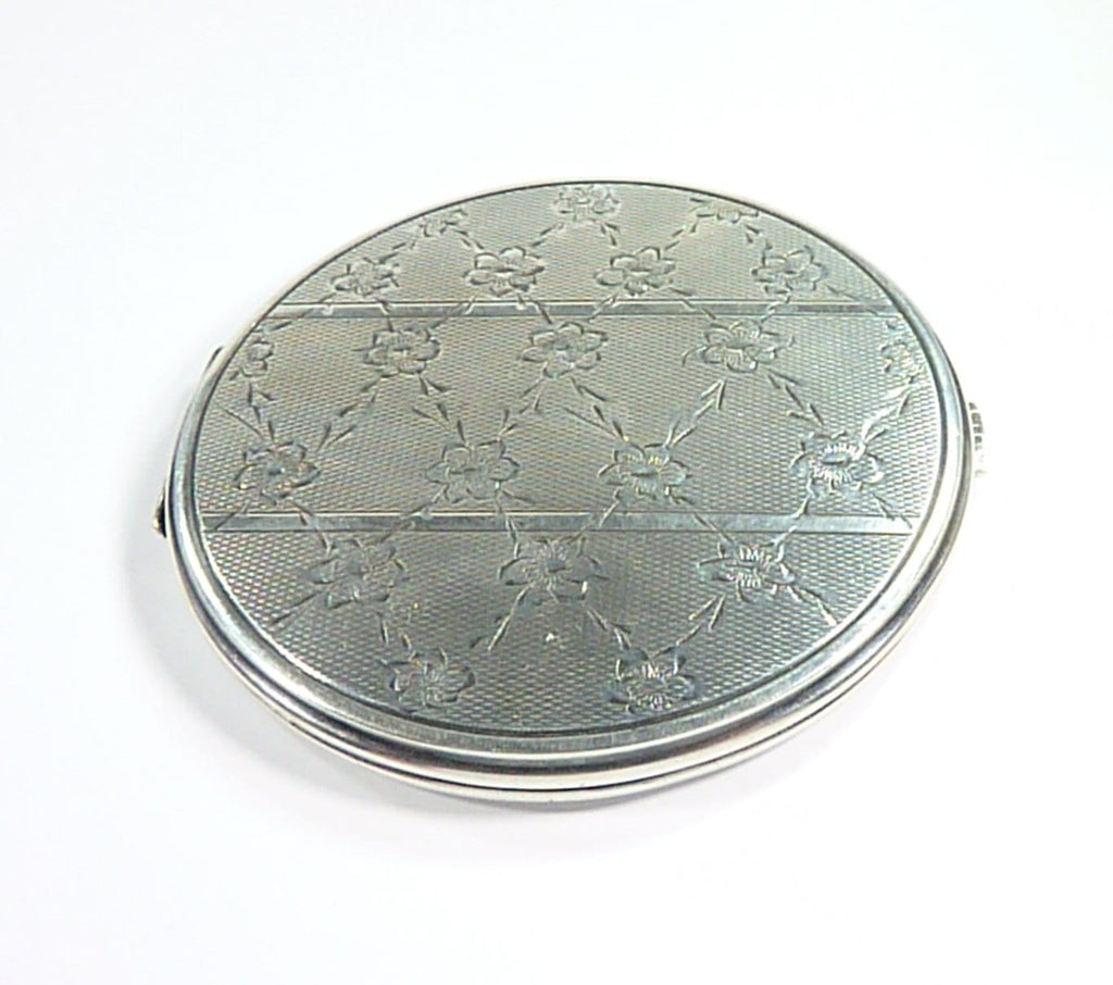 Antique Floral Continental Silver Compact Mirror
