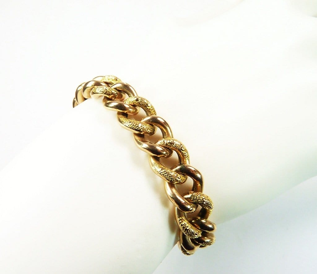 Antique Gold Chunky Curb Bracelet