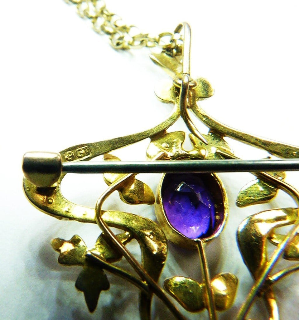 Antique Gold Pendant With Amethysts