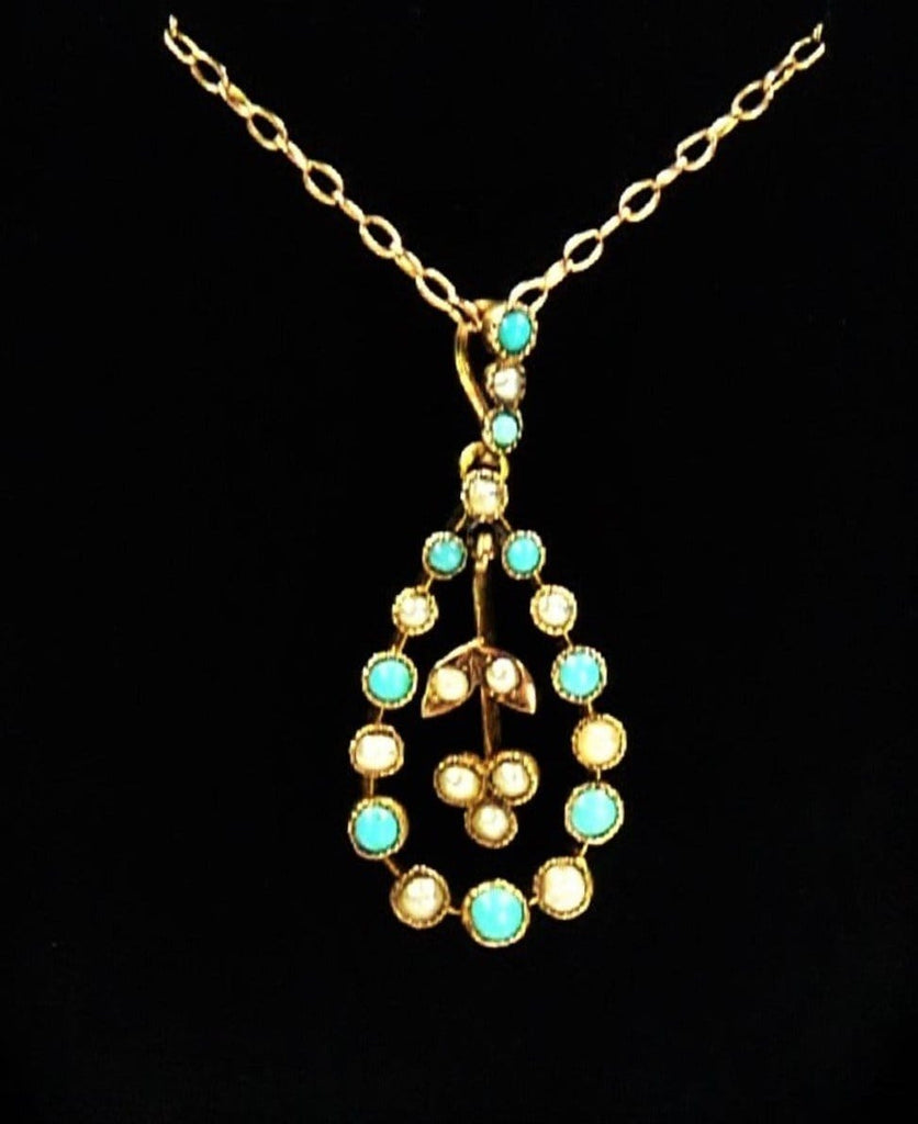 Antique Pearl Turquoise Necklace