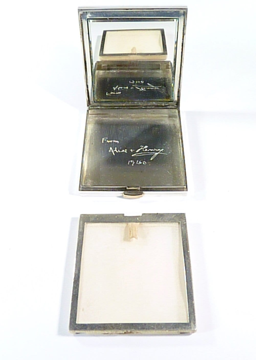 Antique Silver Compact Case With Mirror