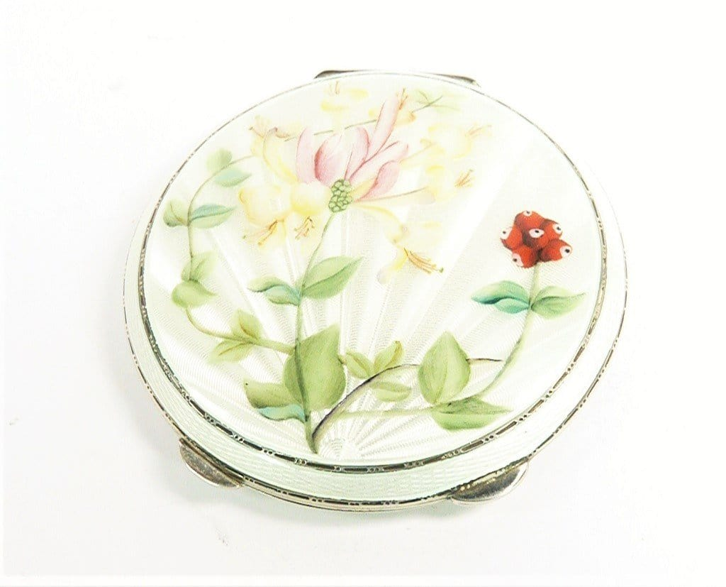 Antique Silver And Enamel Compact Mirror