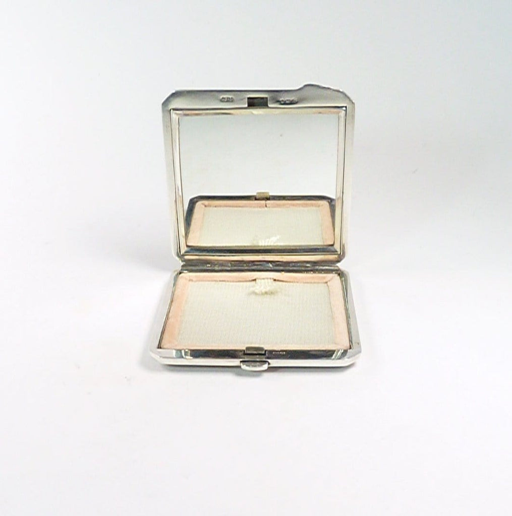 Antique Silver Enamel Compact Mirror