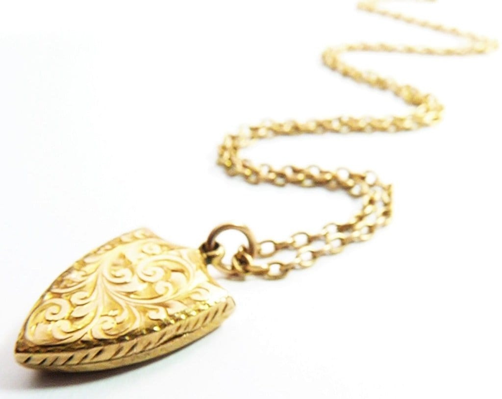 Antique Solid Gold Shield Locket And Chain