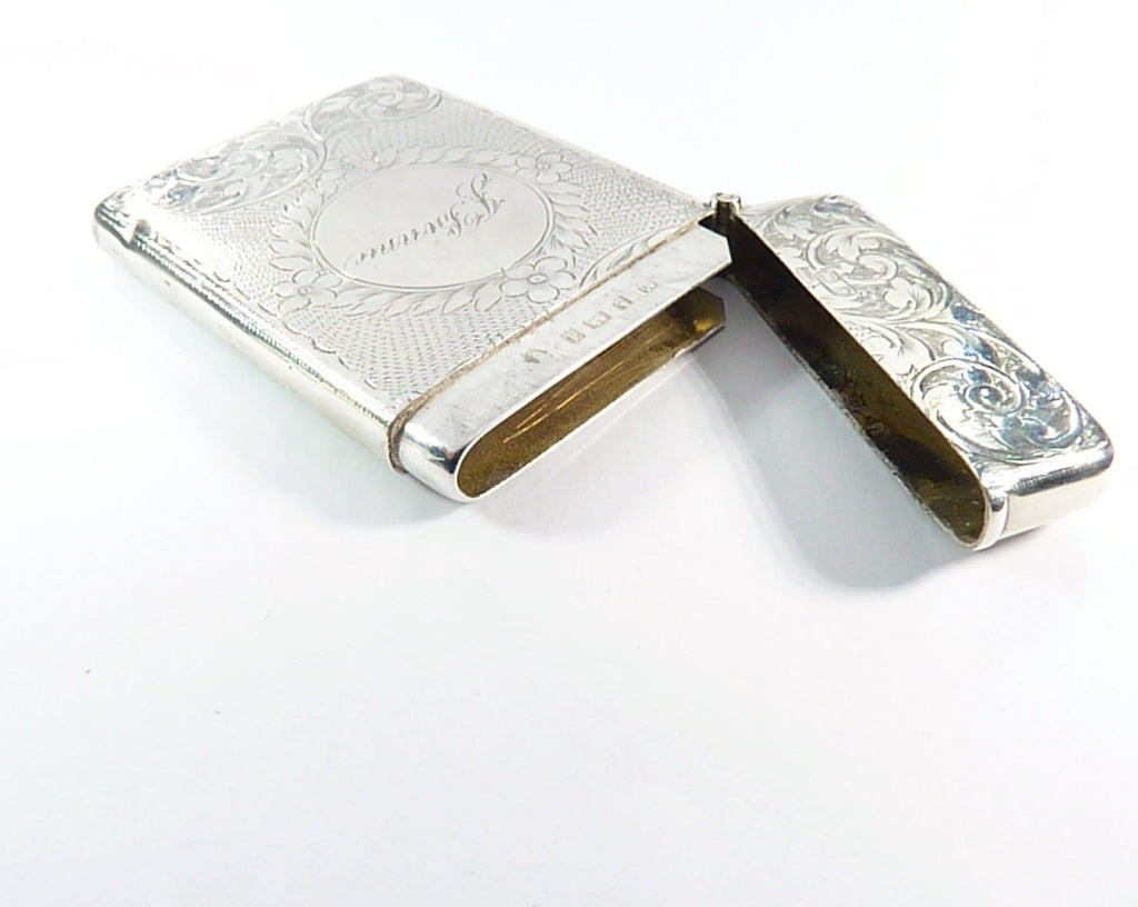 Antique Sterling Bright-Cut Business Card Case