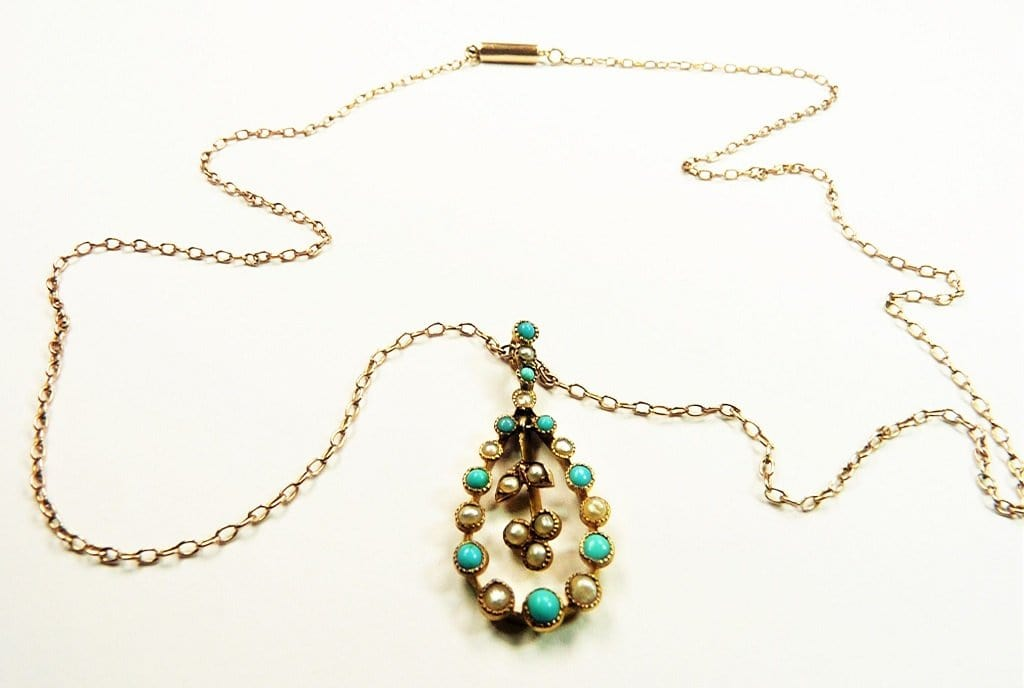 Antique Turquoise Seed Pearl Necklace