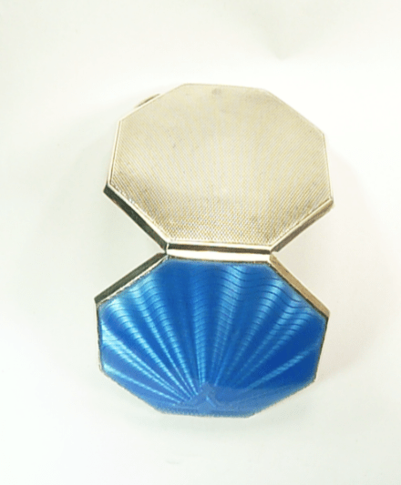 Sterling Silver And Blue Guilloche Enamel Loose Powder Compact William Neale & Sons Ltd 1922