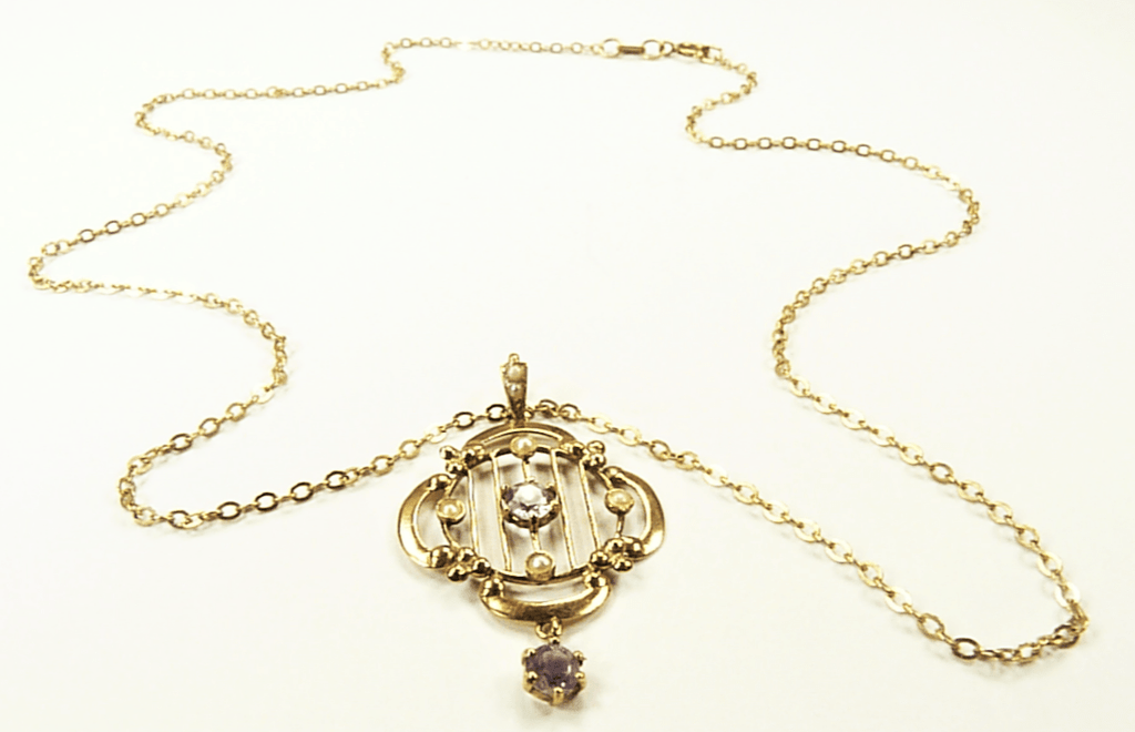Art Nouveau Gold Pendant And Necklace