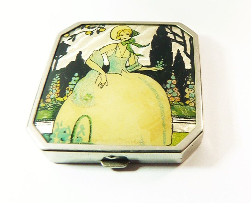 Celluloid Crinoline Lady Compact Mirror