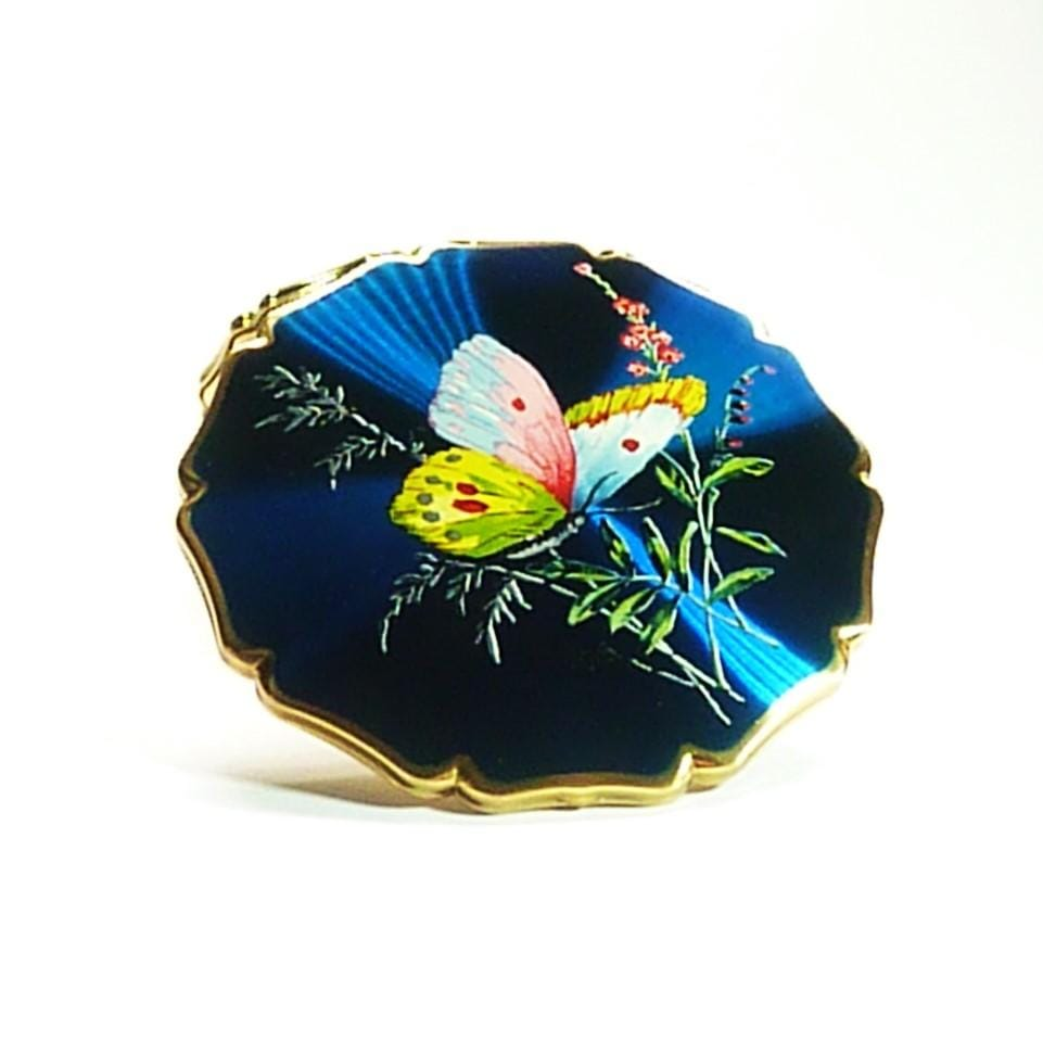 Beautiful Blue Enamel Compact Mirror