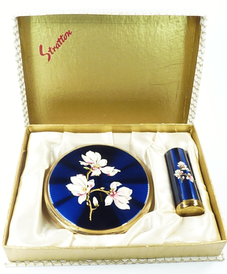 Blue Enamel Stratton Compact And Lipstick Set