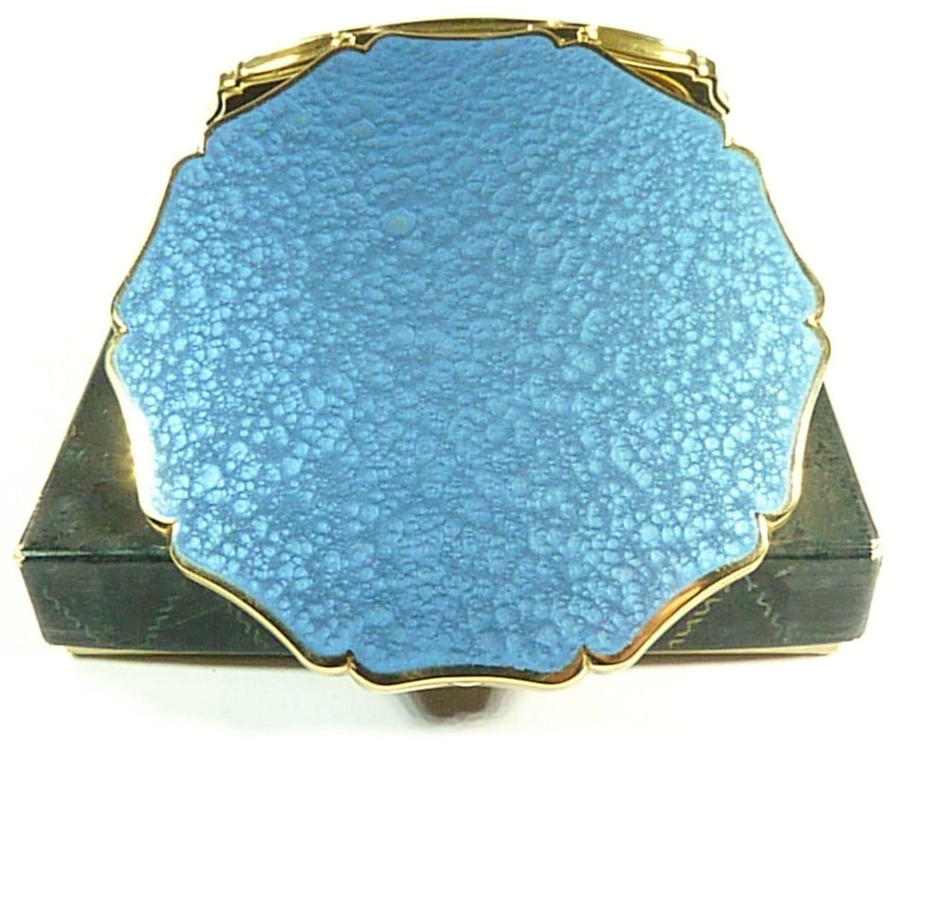 Blue Bubbles Enamel Stratton Powder Compact