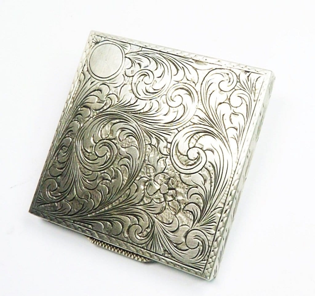 Bright Cut Engraved Silver Compact Mirror