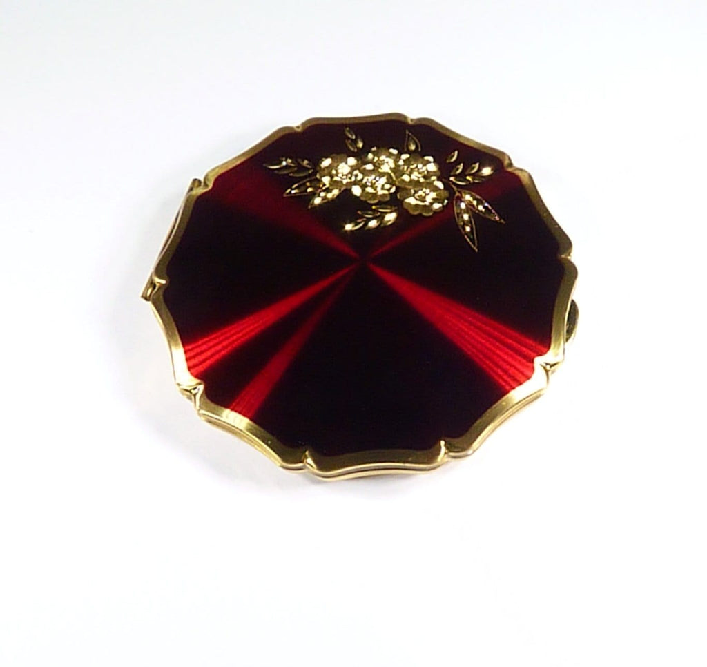 Bright Red Stratton Compact Mirror With Gold Flowers