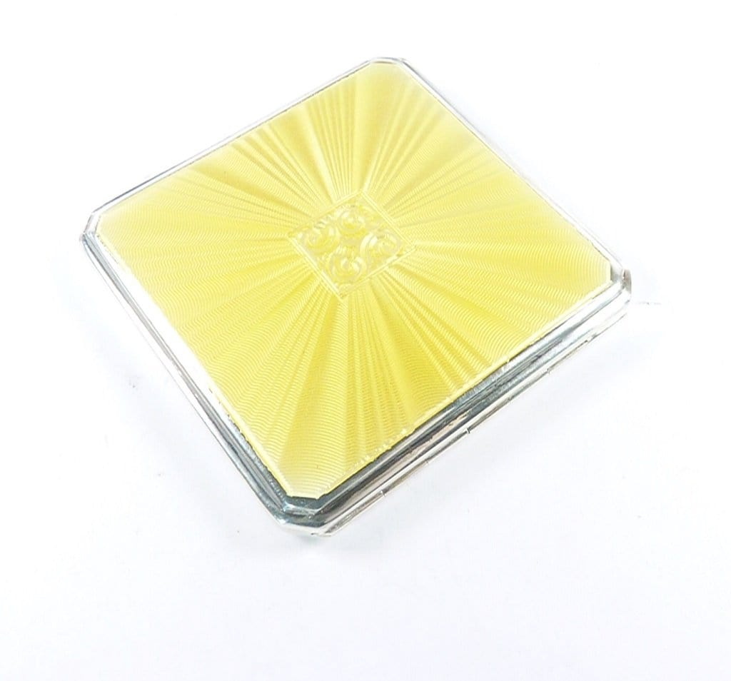 Bright Yellow Enamel Art Deco Powder Compact