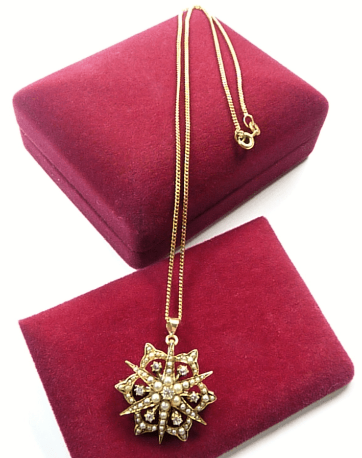 Celestial Antique Diamond And Seed Peal Pendant