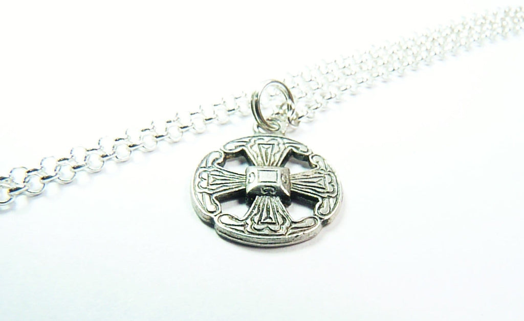 Celtic Cross Lucky Charm Pendant Necklace