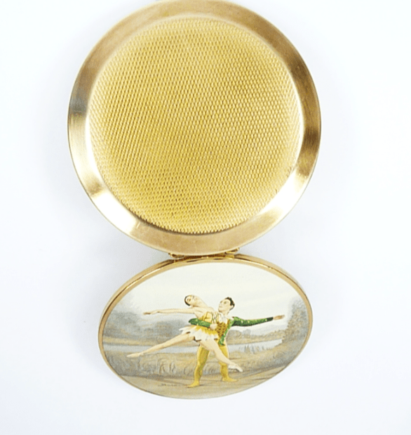 Compact Mirror Old With Ballet Scene
