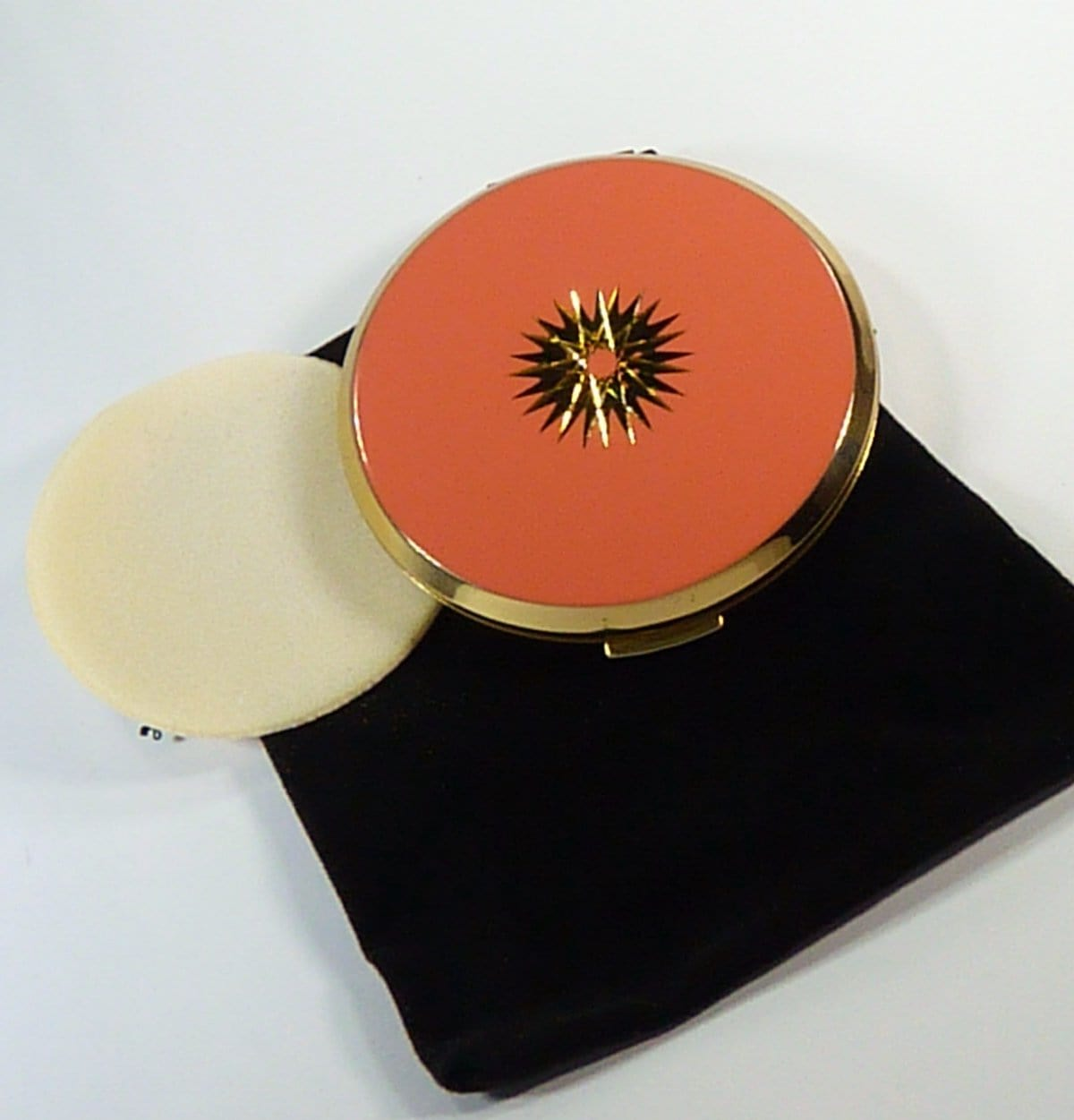 Compact Mirror With Puff & Pouch