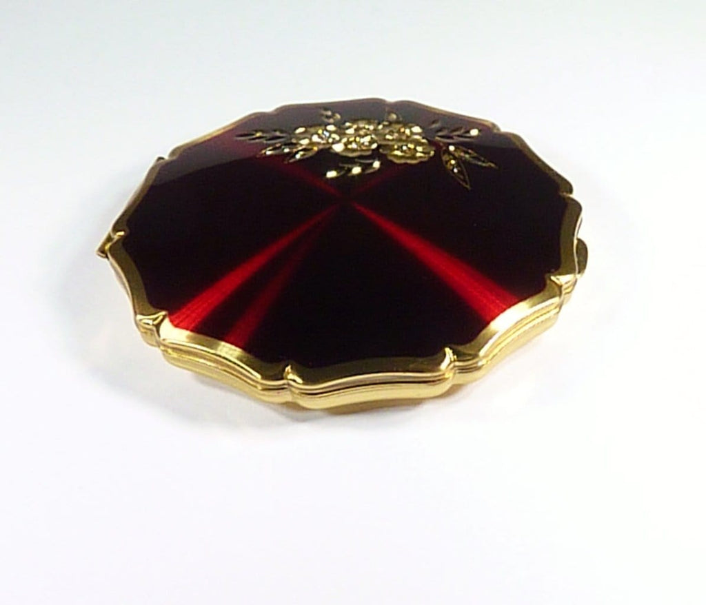 Deep Crimson Enamel Stratton Powder Compact