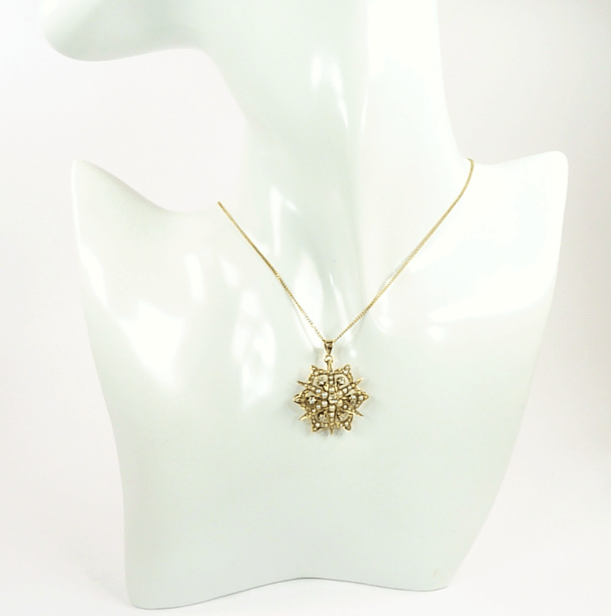 Diamond And Seed Pearl Pendant Necklace